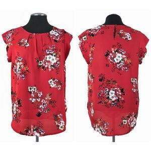 Sweet Rain - Floral Cap Sleeve Pleated Top (Modcloth)